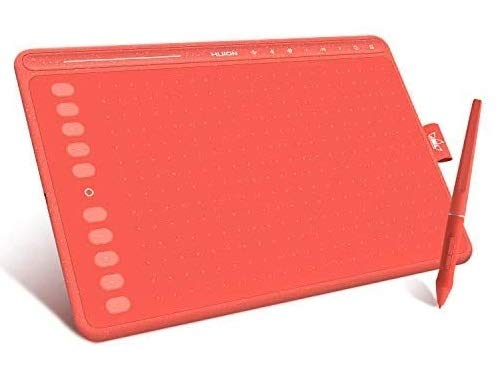Tableta Gráfica HUION HS611 (Rojo Coral) 10x6 Pulgadas Equipado con Teclas Multimedia y Barra Táctil, 10 Teclas de Prensa Programables, Compatibles con Windows/macOS/Android