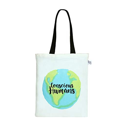 EcoRight Cotton Canvas Printed Women Tote Bag with Zipper for Travel Shopping Beach Gym Yoga College Overnight Fashion EcoFriendly Handbag -(0604P01)
