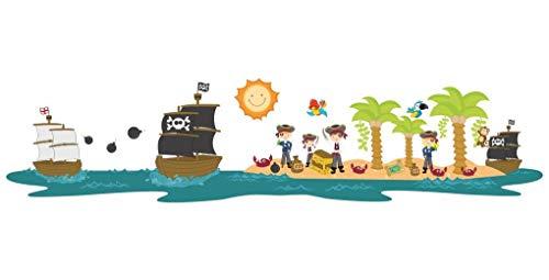 Samunshi® Pirateninsel Piraten Piratenschiff Wandtattoo Wandaufkleber Kinderzimmer in 2 Größen (130x30cm Mehrfarbig)
