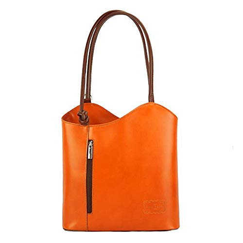 FLORENCE LEATHER MARKET Borsa arancione e marrone a spalla in pelle 28x9x29 cm - Cloe - Made in Italy