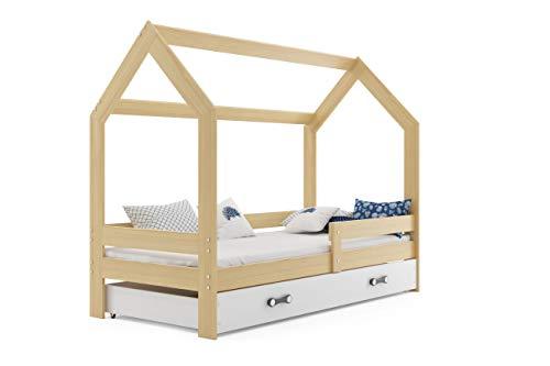 Cama infantil individual CASA 160x80, color pino, con somier , colchón de espuma 160x80 y cajón blanco GRATIS