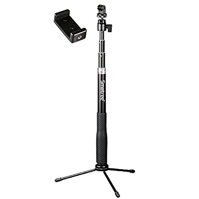 Smatree Q3 Telescoping Selfie Stick with Tripod Stand Compatible for GoPro Hero Fusion/9/8/7/6/5/4/3+/3/Session/GOPRO Hero 2018/DJI OSMO Action Camera,SJCAM,AKASO,Xiaomi Yi and Cell Phone by Smatree