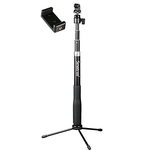Smatree Q3 Telescoping Selfie Stick with Tripod Stand Compatible for GoPro Hero Fusion/9/8/7/6/5/4/3+/3/Session/GOPRO Hero 2018/DJI Pocket 2/DJI OSMO Action Camera/SJCAM/AKASO/Xiaomi Yi and Cell Phone