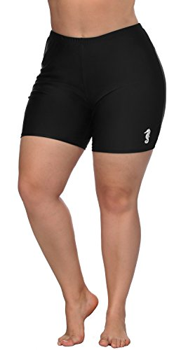 ATTRACO Swim Bottoms for Women Plus Size Bike Shorts High Waist Swimsuit Shorts 1X