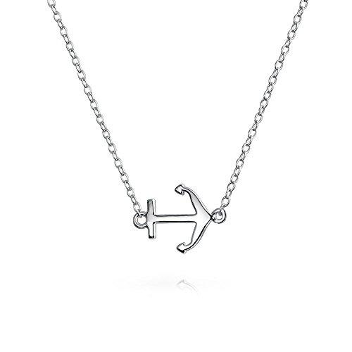 Minimalista Náutico Pequeño Bote Lateral Diagonal Colgante Collar De Anclaje Para Adolescente Mujer 925 Plata De Ley