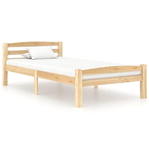 vidaXL Madera Maciza de Pino Estructura de Cama Casa Dormitorio Base Duradera Robusta Mobiliario Muebles Cómodo Moderna Individual 90x200 cm