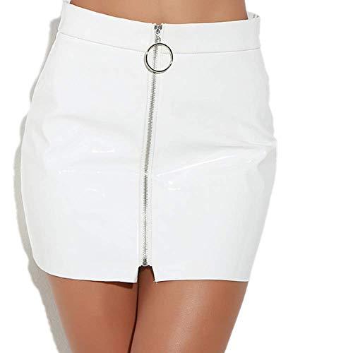N\P Sexy de cintura alta de cuero sintético mini de las mujeres falda frontal cremallera lápiz bodycon, faldas cortas mujeres mujeres falda blanca