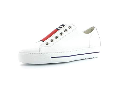 Paul Green Damen Slip-On-Sneaker 4797, Frauen Low-Top Sneaker, sportschuh weibliche Lady Ladies feminin elegant Women's,White/RED,40 EU / 6.5 UK