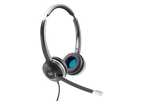 Cisco Headset 532, Wired Dual On-Ear Quick Disconnect Headset with RJ-9 Cable, Charcoal, 2-Year Limited Liability Warranty (CP-HS-W-532-RJ=) (Renewed)