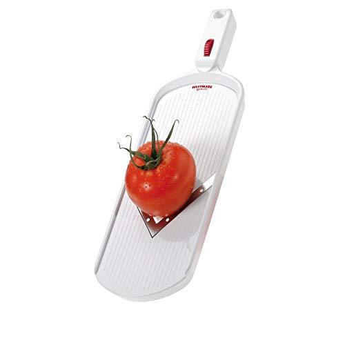 Westmark Gemüseschneider mit verstellbarer Schnittstärke, V-förmige Edelstahlklinge, mit Restehalter, V-Hobel, Weiß/Rot, 11472260