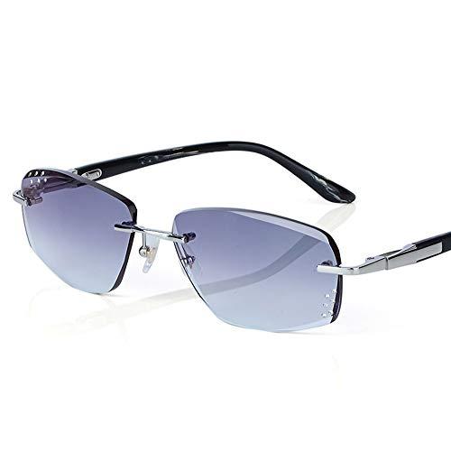 XFSE Gafas de Sol UV400 Gradient Grey Sin Marco Diamante Corte Edge Gafas De Sol Conducción Pesca Turismo Gradient Gafas De Sol Gafas De Los Hombres