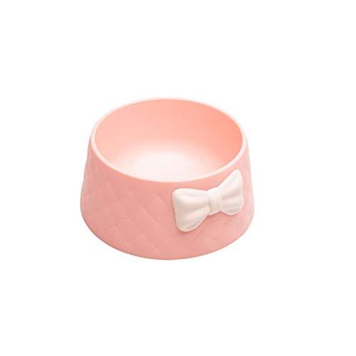 NYKK 3 Farben süße Bogen Kunststoff haustierschüssel für Hund Katze schüssel Haustiere nahrung schüsseln welpen Wasser trinkschale füttern schüsseln (Farbe: grau) lalay (Color : Pink)