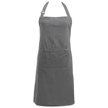 DII Cotton Adjustable Kitchen Chef Apron with Pocket and Extra Long Ties, 32 x 28, Commercial Men & Women Bib Apron for Cooking, Baking, Crafting, Gardening, BBQ-Gray