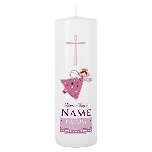 Striefchen® Taufkerze rosa für Mädchen mit Schutzengel inkl. Gratis Beschriftung 25x8 cm Blanche Weiß