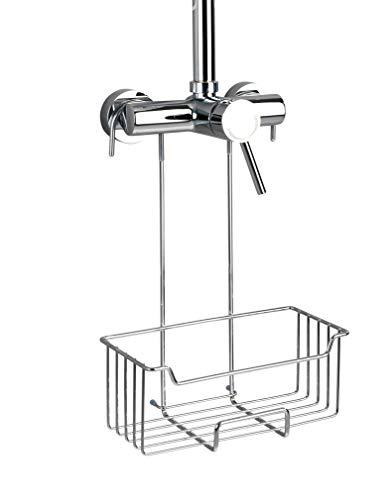 WENKO Thermostat-Dusch-Caddy Milo - Duschregal zum Einhängen, Edelstahl rostfrei, 25 x 36 x 14 cm, Glänzend