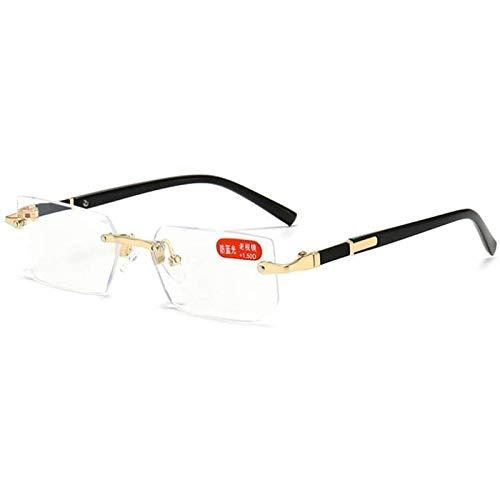 Gafas de Lectura Transparentes Sin Montura Lectores con Bloqueo de Luz Azul para Hombres y Mujeres Gafas con Bisagras de Resorte Ligeras Antirreflejos Que Reducen la Fatiga Ocular