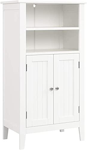 Mueble Auxiliar Baño Armario Baño de Suelo Armario Almacenaje para Dormitorio Cocina Salón con 4 Compartimentos 2 Puertas Blanco 50x30x92.5cm