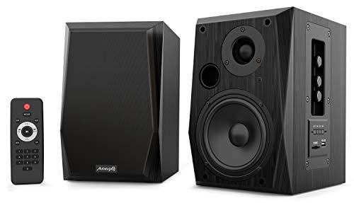 Audibax| Altavoces Beta 2BT | Altavoces Hifi | Potencia de 50 W | Con Bluetooth | Control de Graves y Agudos | Con Entrada de USB y SD | Incluye Mando a Distancia | Color Negro