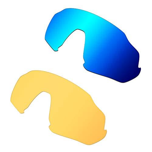 HKUCO Renforcer Rechange Lentille Pour Oakley Flight Jacket Lunettes de soleil Bleu/Jaune transparent Polarisé
