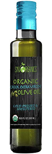 Organic Extra Virgin Olive Oil Sky Organics 100% Pure Greek Cold Pressed Unfiltered Non-GMO EVOO-...