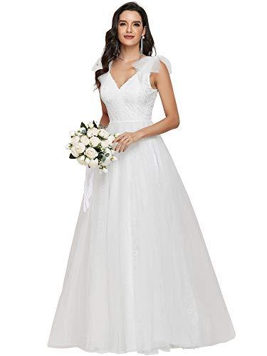 Ever-Pretty Women's Simple Sleeveless V Neck Empire Waist A Line Lace Tulle Floor Length Wedding Dresses for Bride White 20UK