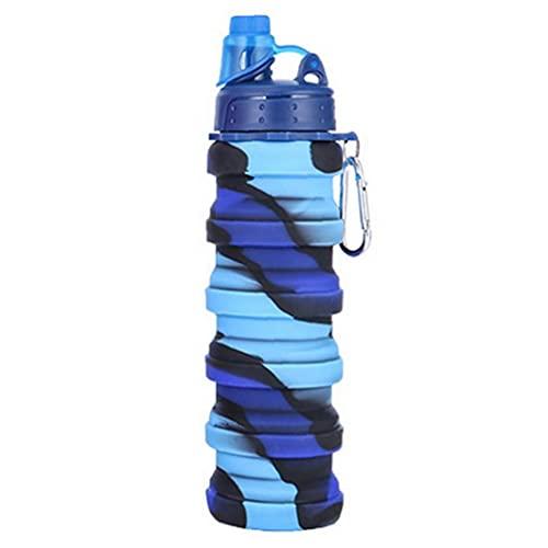 YepYes Botella de Agua Plegable Botella de Silicona Plegable Botella Deportiva a Prueba de Fugas para el Recorrido Camping 500ml Camuflaje de Camuflaje Padres Regalo