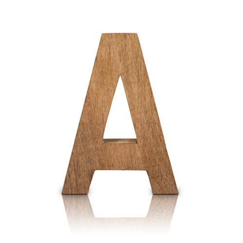 Letras decorativas de madera maciza de 20,32 cm, letras del alfabeto, palabras de madera con acabado natural, estante independiente o vajilla, iniciales para el dormitorio, boda, cumpleaños, fiestas