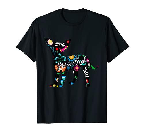 Abuelo Chihuahua perro amante floral regalos de Navidad Camiseta