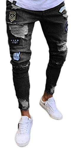 Pizoff Herren Superenge Skinny-Jeans mit Rissen an den Knien, Am019-schwarz, S