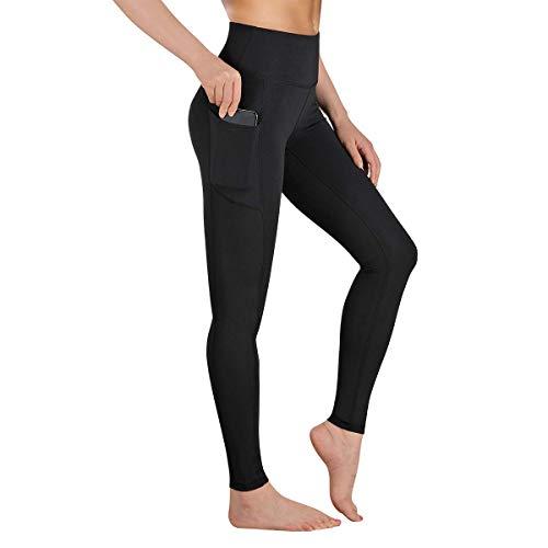 Occffy Leggings Mujer Fitness Cintura Alta Pantalones Deportivos Mallas para Running Training Estiramiento Yoga y Pilates P107 (Negro, L)