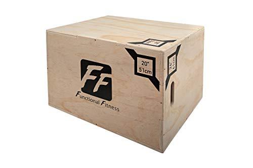 FunctionalFitness Caja de Madera para plyobox 3 en 1, Ideal para Entrenamiento en Cruz, 20 Pulgadas, 24 Pulgadas, 30 Pulgadas, plyobox