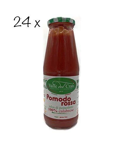 24 Bottiglie Salsa Di Pomodoro Calabrese Naturale Italiano Valle Del Crati Passata Di Pomodori Senza Glutine Prodotto Vegano Ideale Per Sugo e Condimenti Pronta in 5 Minuti Vetro Da 720 Ml