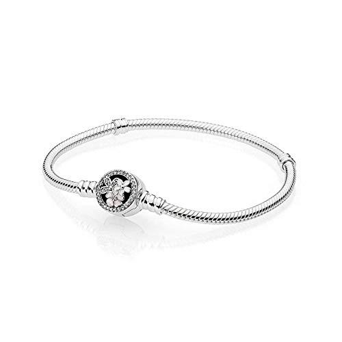 CHWEI Knitted Hat Armbänder 925 Sterling Silber Moments Armband mit Blüten Verschluss Passform Original Charm Armband Schlangenkette Schmuck A 20cm