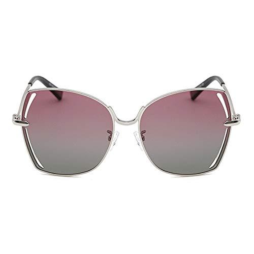 ZHHk Gafas de Sol Nuevas Gafas De Sol Polarizadas Caja De Plata Gafas De Conducción Huecas Protección UV400 Unisex Lente Verde Degradado Verde