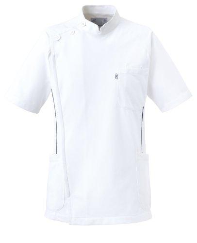 [ミズノ] スクラブ・白衣 医療 白衣 パイピング ケーシージャケット メンズ ミズノ機能採用[制菌/吸汗速乾/透防止/制電] 整体院 整骨院 鍼灸院 全7サイズ 爽やか3色 MZ0049 ホワイト L-(日本サイズ)