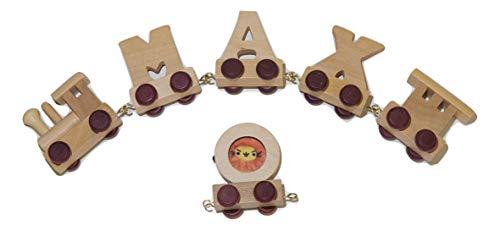 Buchstabenzug Namens-Set 3 Buchstaben Namen (kostenfreie Loc, Waggon & Fotozug) | Fun World Toys® Buchstaben Zug Holz Name