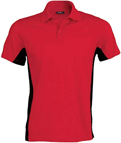 Kariban Flag > Polo Bicolore Manches Courtes - Red/Black, 3XL, Unisexe