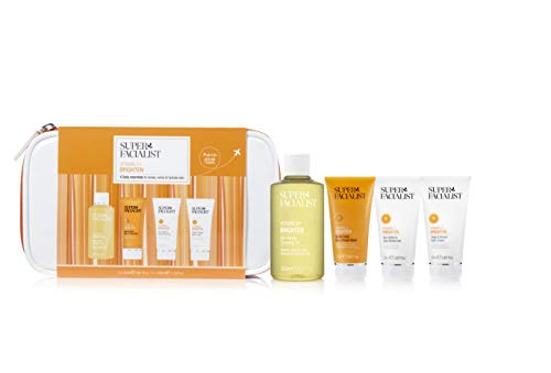Super Facialist Vitamin C Brighten Mini Skincare Collection 4 Daily Essentials. Womens Face Care Travel Set & Zip Bag Suitable for Air Travel & Holidays