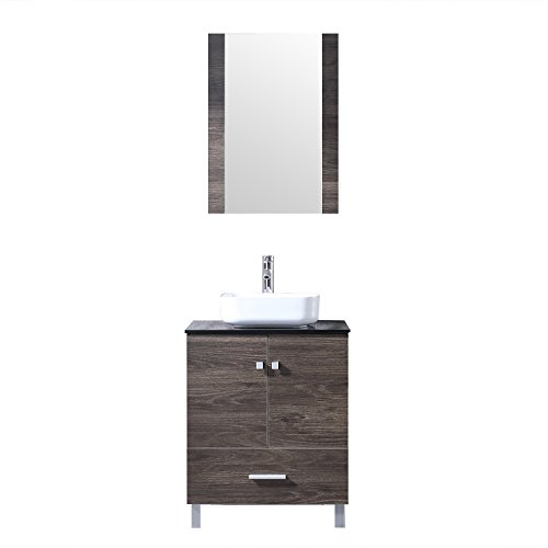 BATHJOY 24'' Bathroom Vanity Set PLY Wood Cabinet Square Ceramic Vessel Sink -