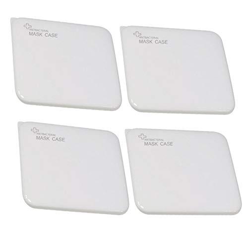 JSxhisxnuid 4 Stück Tragbare Aufbewahrungsbox Mundschutz Aufbewahrungstasche, Staubdicht Kunststoff Wiederverwendbar Maskenbox, Mund und Nasenschutz Zubehör (Weiß)