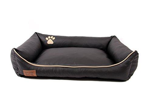 Hundebett Kunst Leder Hundebett Hundesofa Katzenbett Hundekorb S M L XL XXL XXXL Dollaro (XXL (ca. 120x90 cm), schwarz)