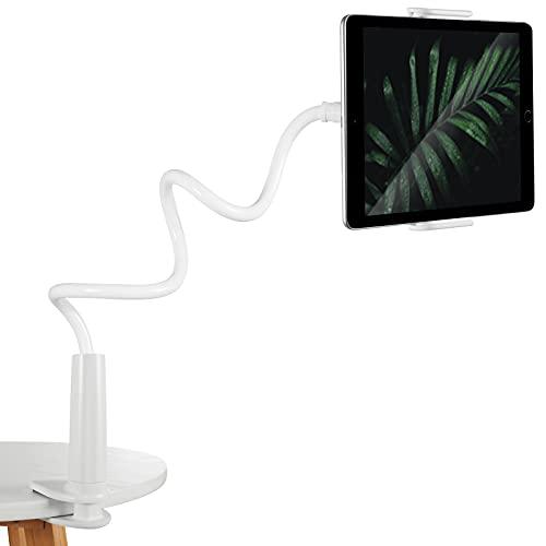 Soporte Tablet, Soporte Móvil Multiángulo Flexible con Cuello de Cisne Brazo, Compatible para iPad Serie/iPhone/Huawei/Samsung/Kindle Fire y Más Equipo de 4-11 Pulgadas (Blanco)