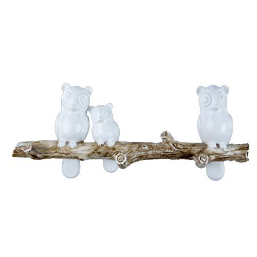 Syuantech Perchero Montado en La Pared Búhos en La Rama del Árbol Colgador de Decoración con Ganchos para Abrigos Sombreros Llaves Toallas (3 Búhos)