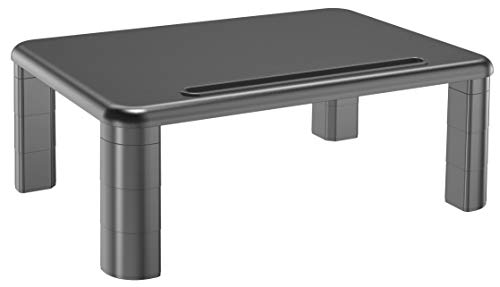 Adjustable Monitor Stand with Storage Organization. Sturdy, Durable, No-Vibration Support. Convenient Slots for Tablet or Phone & Cables. Perfect Riser for Laptop, Printer. Stylish Black
