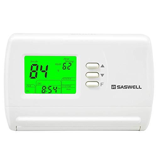 Single Stage 5-2 Programmable Thermostat,24 Volt or Millivolt System,1 Heat 1 Cool,Saswell SAS900STK-2 (Renewed)