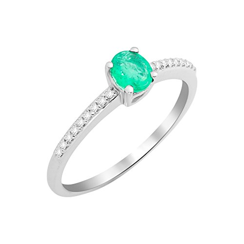 Miore Damen Solitär-Ring, 9 Karat Weißgold, Smaragd - 54 (17.2)