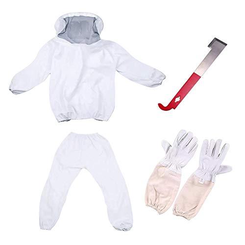 Tuta da apicoltura professionale da apicoltore, giacca da apicoltura e apicoltura con cappuccio velo, tuta da apicoltura, giacca, pantaloni, guanti, raschio-r