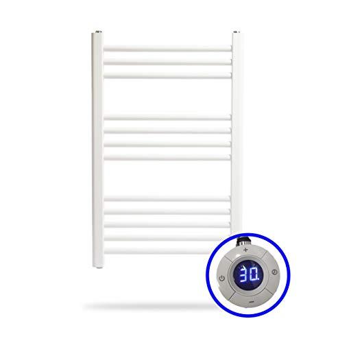 ClimaSpain Badheizkörper Elektrischer Tenerife · Handtuchwärmer Elektrisch (Größe 800 x 500 mm) 400 Watt · Badheizkörper Handtuchhalter Farbe Weiß · 5 Jahre Garantie