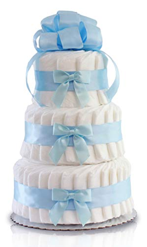 Classic Pastel Baby Shower Diaper Cake...