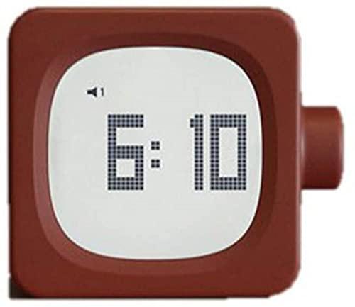 LFERRTYZ Reloj Despertador Digital Despertador, Dormitorio de cabecera silencioso Cuadrado, Simple, Multifuncional, para Hombres y Mujeres, portátil, Rojo